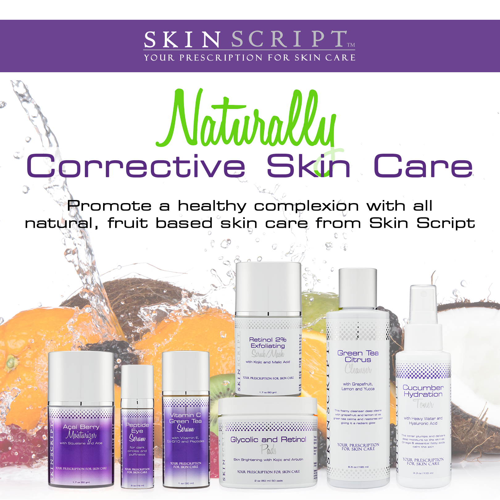 Clinical, professional skin care line containing retinols